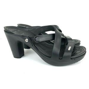 CROCS Black Cyprus Strappy Heels Size 8